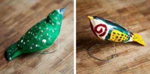 drewniane ptaszki malowane akrylem