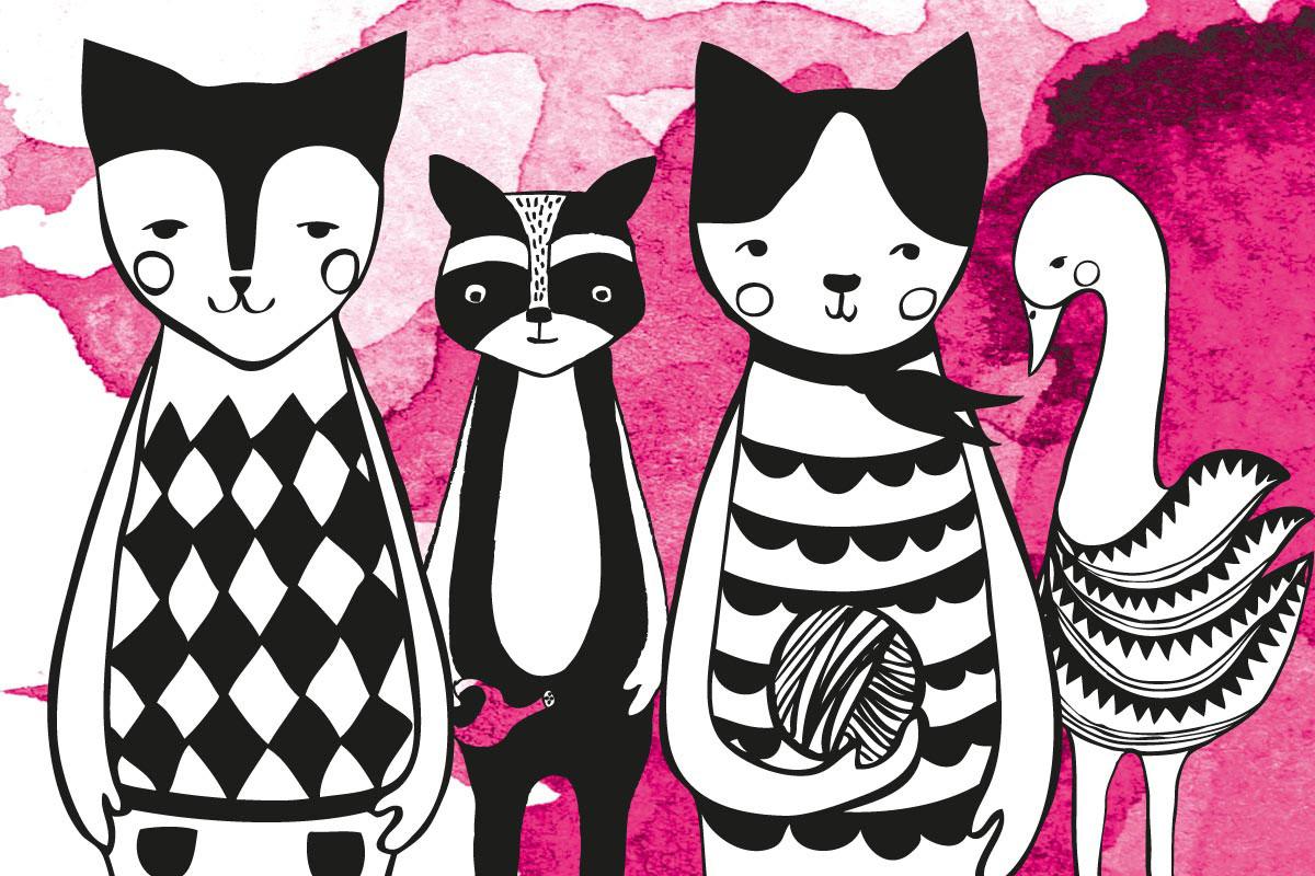 zwierzęta z serii animals koty, łabędź i borsuk