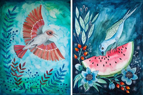 akwarelowe ilustracje ptaków