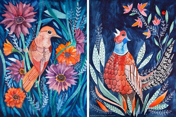 ilustracja kolorowych ptaków