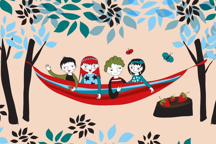 ilustracja dzieci w hamaku