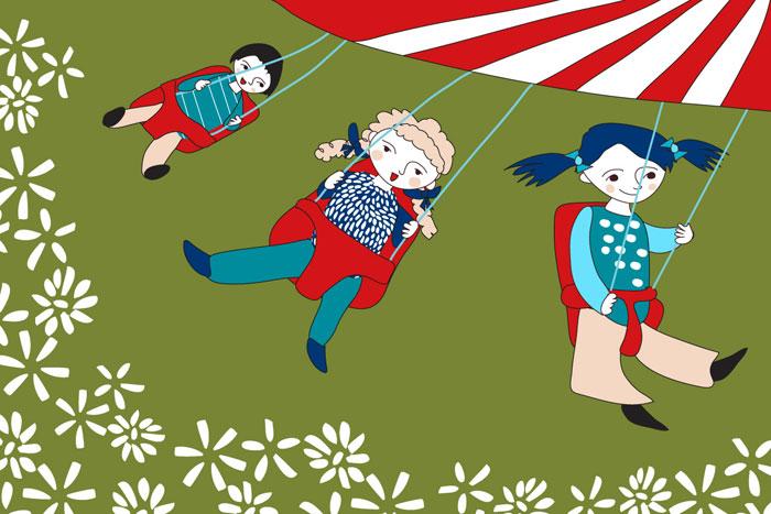 ilustracja dzieci na karuzeli