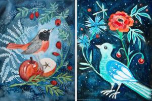 ilustracja ptaków wśród kwiatów