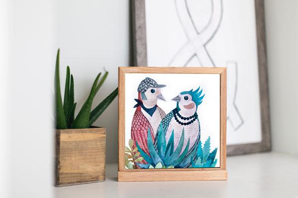 Ilustracja ptaków w ramce