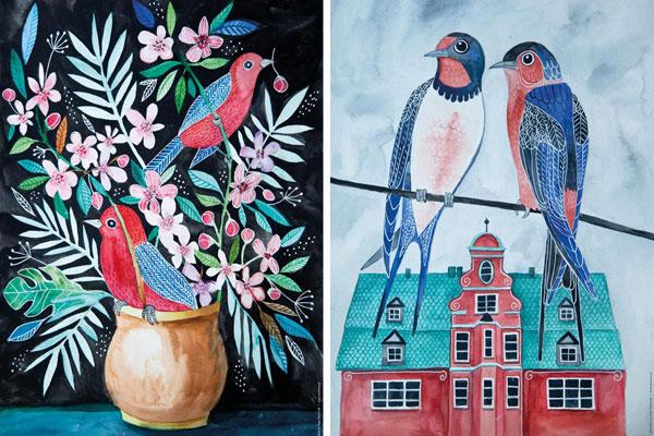 ilustracja akwarelowa ptaków