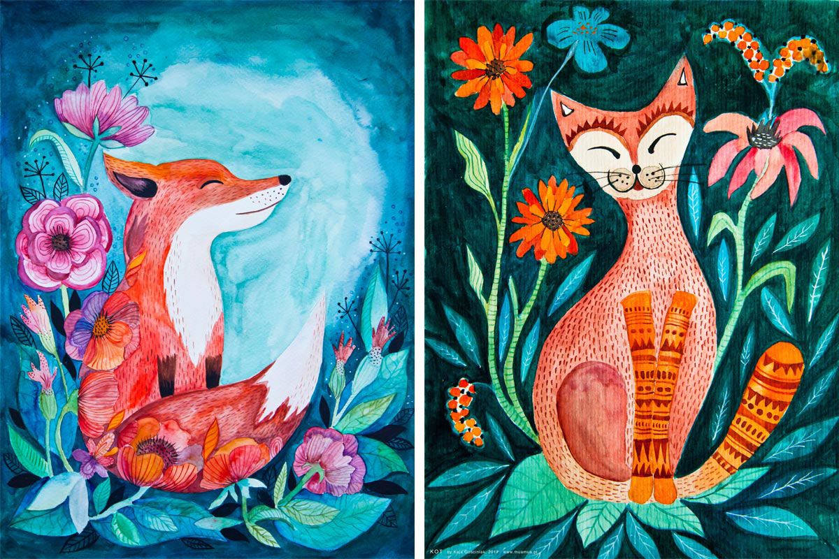 akwarelowa ilustracja lisa i kota autorstwa Kai Gościniak