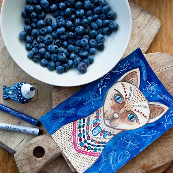 ilustracja kota syjamskiego malowana przez Kaję Gościniak