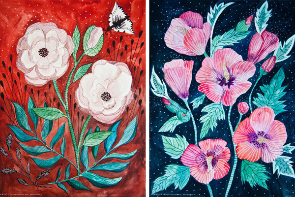 ilustracja akwarelowa kwiatów