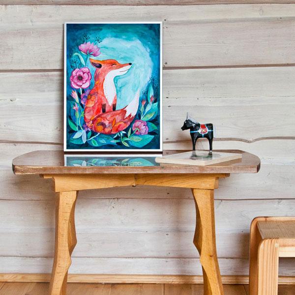 ilustracja lisa w pokoju dziecięcym