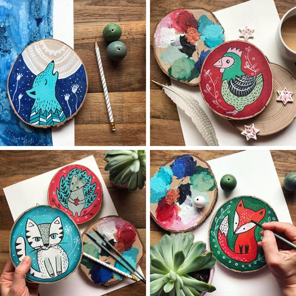 ilustracje dla dzieci malowane na drewnie