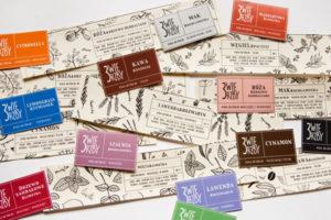 projekt graficzny logo oraz etykietek dla mydeł naturalnych