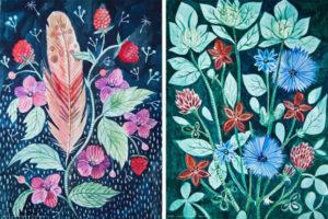 pióra i kwiaty malowane akwarelą