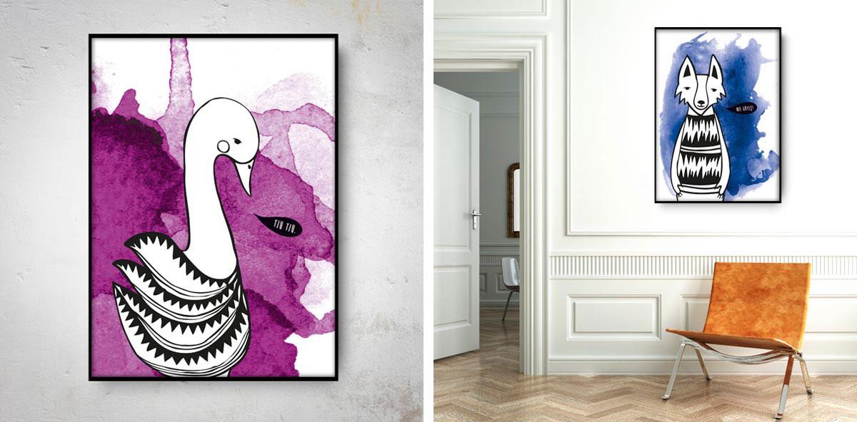 ilustracja ze zwierzętami z kolekcji animals na plakatach