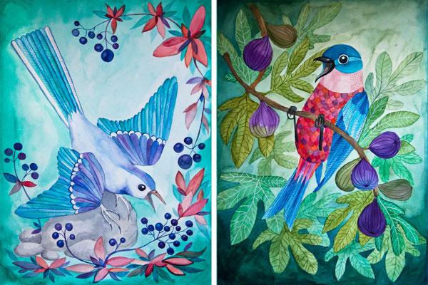 kolorowe ptaki na ilustracji