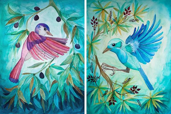 akwarelowa ilustracja latających ptaków