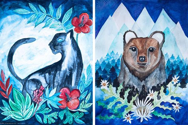 puma i niedźwiedź - akwarelowe ilustracje