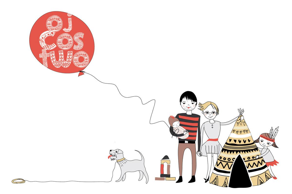 ilustracja portretowa dla rodziny