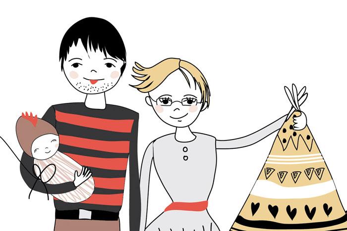 ilustracja rodzinna portretowa