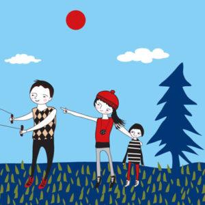 ilustracja rodziny na spacerze z psem i latawcem