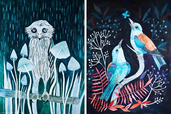 ilustracje akwarelowe ptaków