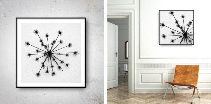plakaty z czarno-białą fotografią