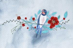 jaskółka i kwiaty jako ilustracja główna do strony internetowej omnis