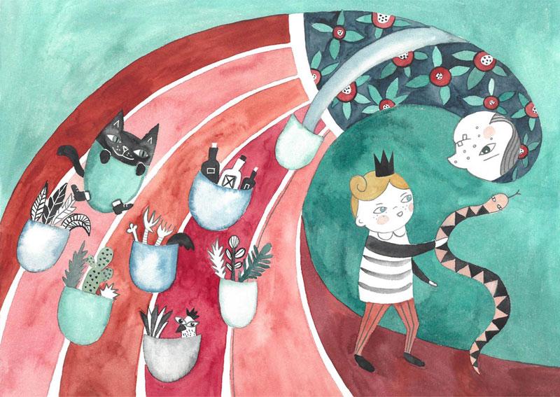 ilustracja dla dzieci przedstawiająca królewicza i czarownicy