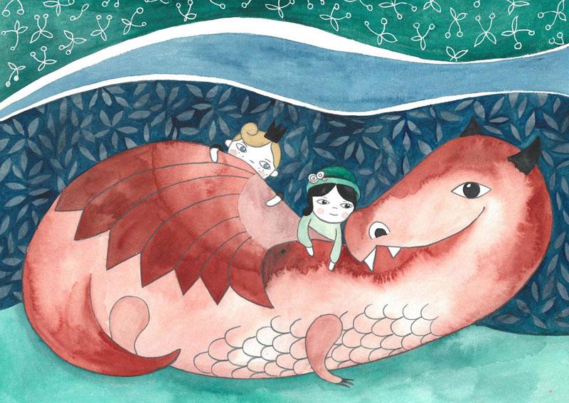 ilustracja dla dzieci przedstawiająca czerwonego smoka