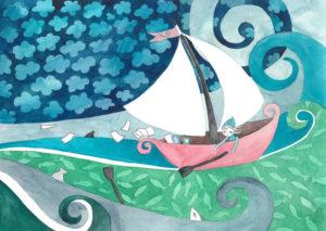 ilustracja dla dzieci przedstawiająca elfa w łódce