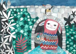 ilustracja dla dzieci przedstawiająca gnoma pod mostem