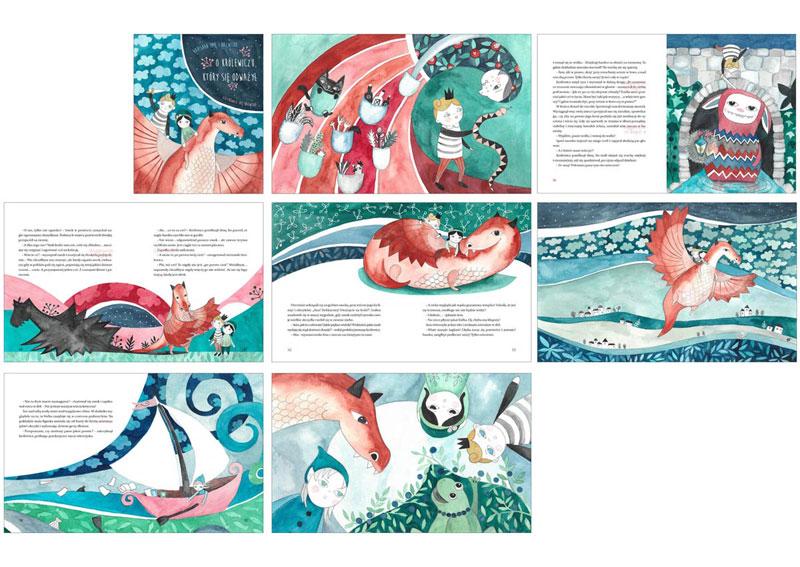 ilustracje dla dzieci o smoku i królewiczu makieta książki