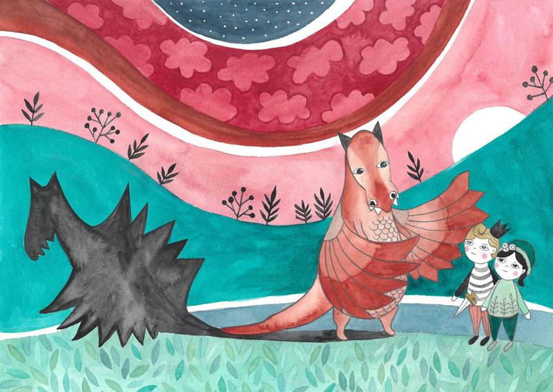 ilustracja dla dzieci przedstawiająca smoka