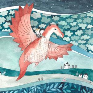 ilustracja dla dzieci latającego smoka z dziećmi