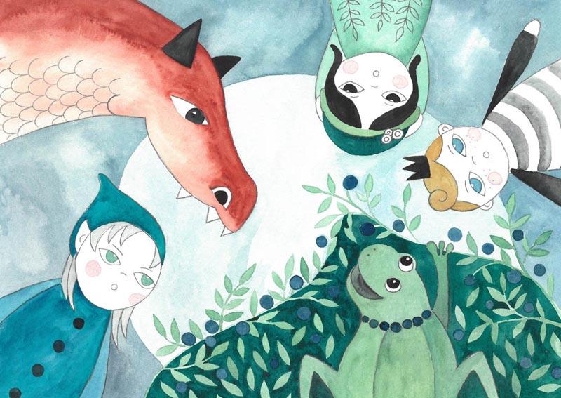 ilustracja dla dzieci przedstawiająca elfa, dzieci, smoka i żabę