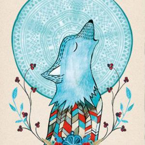 ilustracja wilka wyjącego do księżyca
