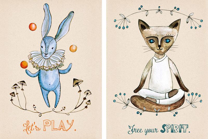 Kot ćwiczący jogę oraz zająć na ilustracji akwarelowej