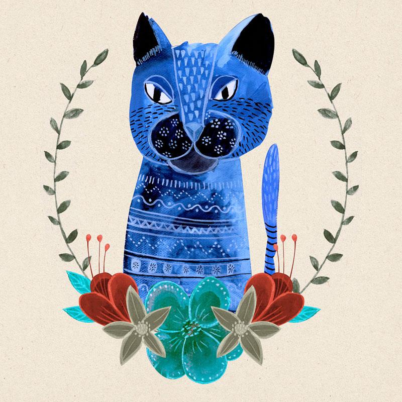 niebieski kot na ilustracji akwarelowej