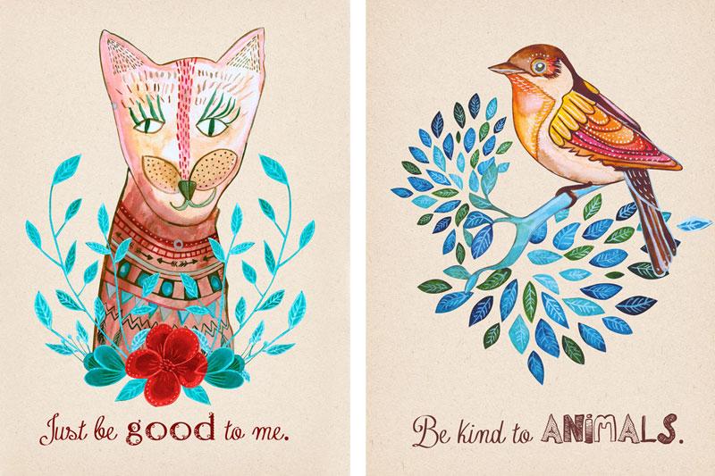 ilustracje kota i ptaka malowane akwarelą