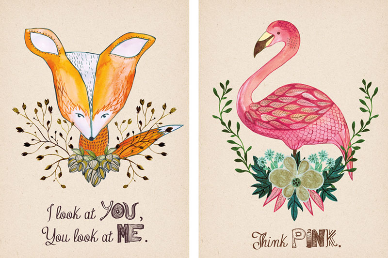 Ilustracje akwarelowe lisa i flaminga