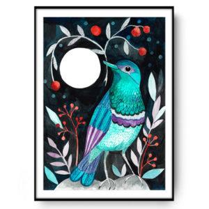 plakat z ilustracją ptaka malowaną przez Kaję Gościniak