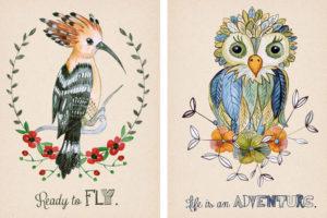 ilustracje ptaków rodzaju dudek i sowa malowane akwarelą