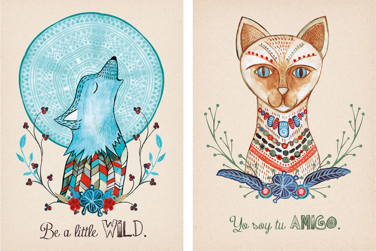 wilk i kot na ilustracji akwarelowej malowanej przez Kaję Gościniak