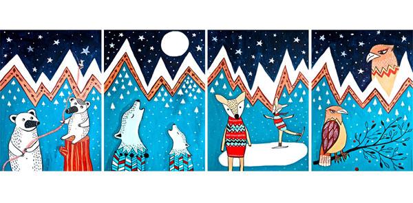 ilustracja dla dzieci górskie zwierzęta