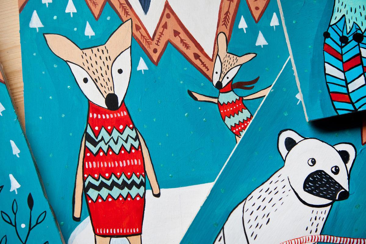 ilustracja zwierząt w górach malowane przez Kaję Gościniak
