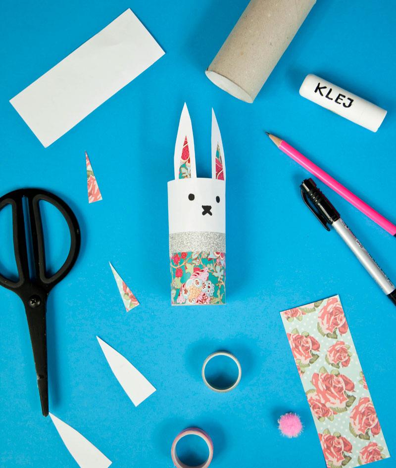ozdoba wielkanocna króliczek i materiały do kreatywnej zabawy