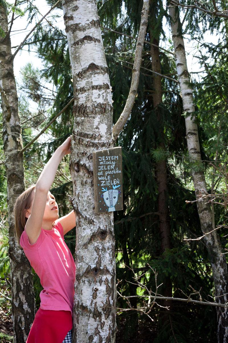 tabliczka wieszana przez dziecko na drzewie