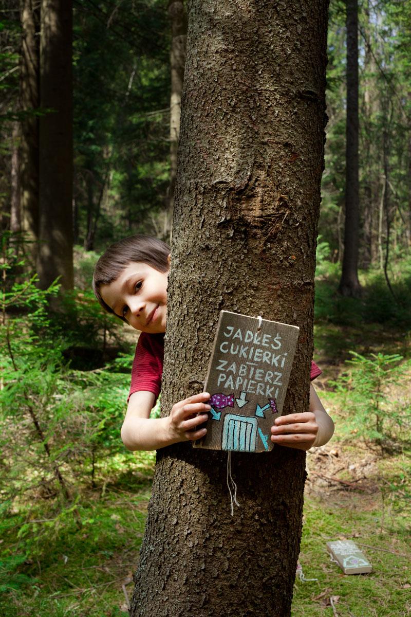 Ilustracja na deseczce w lesie