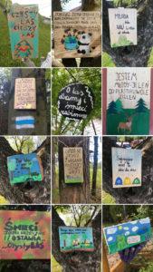 tabliczki informacyjne wykoanane przez uczniów szkoły w Naprawie
