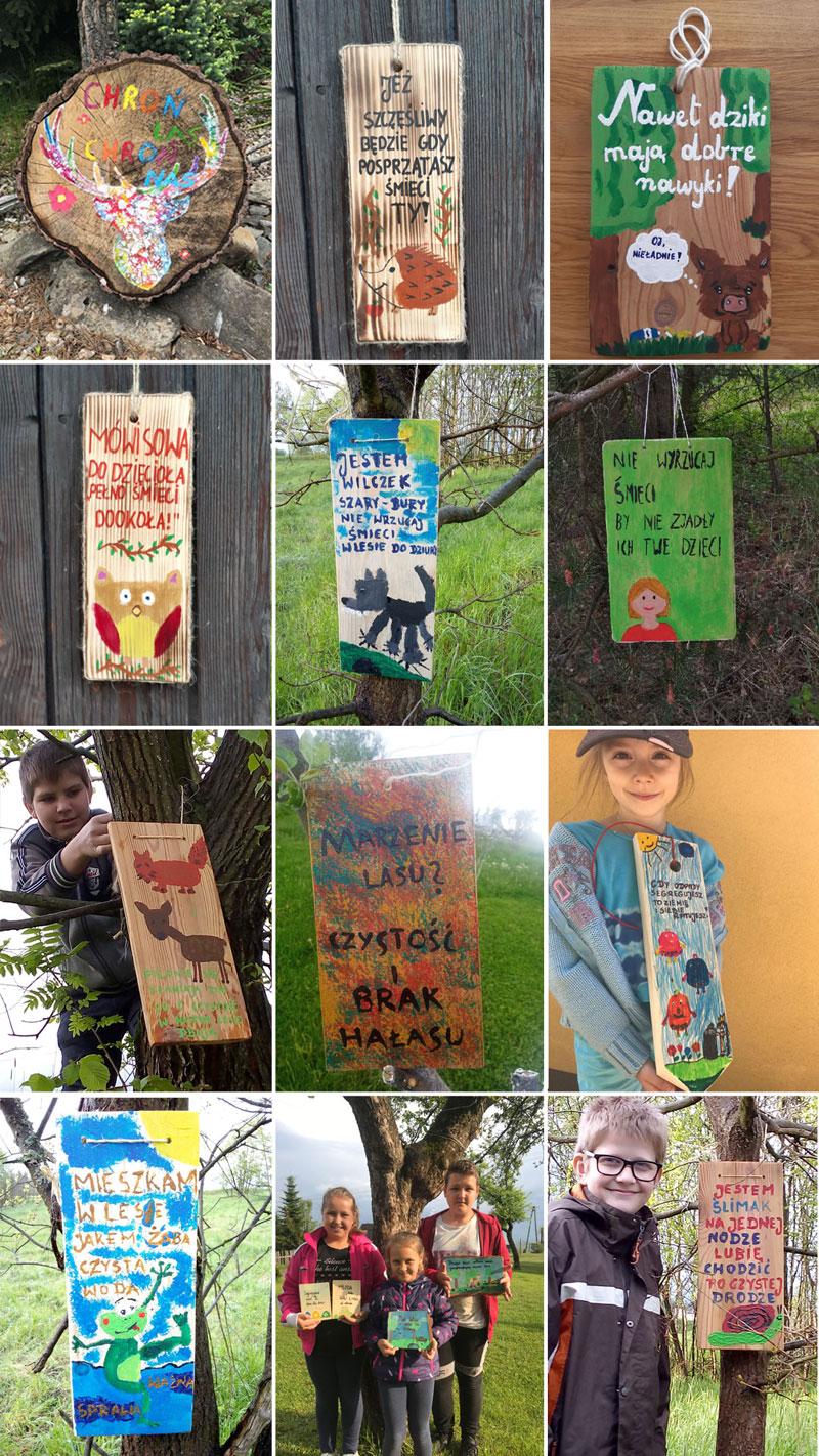 tabliczki informacyjne wykonane na konkurs akcja czysty las