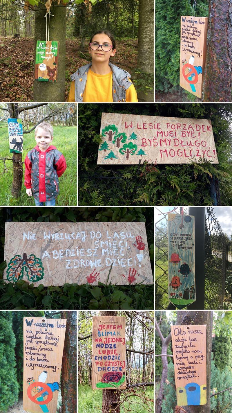 tabliczki z ilustracjami i tekstem by chronić las